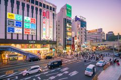 Beautiful Panoramic view of city at twilight in Ueno area Tokyo royalty free stock images