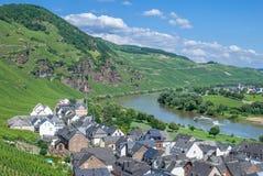 Uerzig, de Rivier van Moezel, de Vallei van Moezel, Duitsland Stock Fotografie