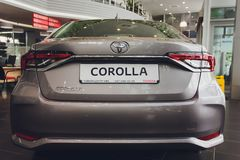 Ufa, Ρωσία - 14 Φεβρουαρίου 2019 Η ολοκαίνουργια Toyota Corolla έφθασε στον αντιπρ στοκ φωτογραφίες με δικαίωμα ελεύθερης χρήσης