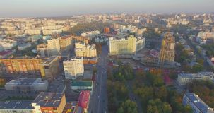 Ufa city at sunset in center. Aerial view stock footage