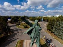 Ufa Rosja, Wrzesień, - 08, 2014: Lenin z szeroko rozpościerać ręką Fotografia Stock