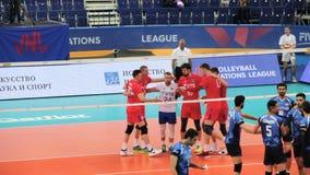 Ufa, Rusia - 10 de junio de 2018: Partido Rusia-Irán, liga 2018 de las naciones del voleibol de FIVB El equipo ruso ganó un punto almacen de metraje de vídeo