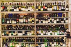 Free Ufa, Russia, 5 November, 2018: Closeup Shot Of Wine Shelf. Bottles Lay Over Straw. Wine Cellar. Stock Photos - 168833853