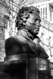 UFA, RUSSIA - 11 APRIL 2019: black bust in profile of Alexandr Sergeevich Pushkin with an inscription greatest russian poet on. UFA, RUSSIA - 11 APRIL 2019 stock images