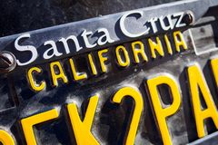 Ufa, Russia, 22 June 2019: License plate with an inscription Santa Cruz California. Copy space, selective focus royalty free stock images