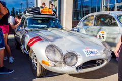 Ufa, Russia, 22 June 2019: The 7th Peking to Paris Motor Challenge. Front view of The Jaguar E-Type, British sports car stock photos