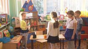 UFA, RUSSIA - MARCH, 2015: children plays active games in nursery. Russian kindergarten is a preschool educational. Institution stock footage
