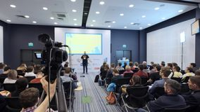 Ufa Russia - 04.04.2018: video camera record a lecture or seminar on marketing and business.  stock footage