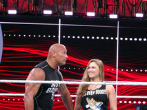 UFC star and Bantamweight Champion Ronda Rousey and the Rock cel Royalty Free Stock Photo