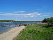 Ufer-Flora, Dock und Himmel stockbild