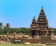 Ufer-Tempel, Mahabalipuram, Indien stockbild