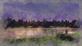 Ufer von See oder von Teich an der Nachtaquarellskizze