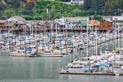 Ufergegend-Ansicht Alaskas Seward vom Kreuzschiff Lizenzfreies Stockbild