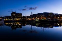 Ufergegend an der Dämmerung in Hobart, Tasmanien, Australien stockbilder