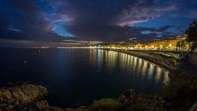 Ufergegend der Nizza Stadt und des Mittelmeertages zum Nacht-timelapse stock video footage