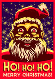 Uff uff uff! Illustrazione di vettore di Natale, risata di pancia grassa d'annata del Babbo Natale Fotografie Stock Libere da Diritti