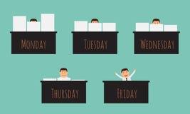 Ufficiale che lavora alla settimana. Immagine Stock