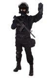 Ufficiale dello SCHIAFFO in uniforme del nero Fotografia Stock