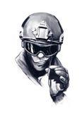 Ufficiale di polizia con la sigaretta Fotografia Stock