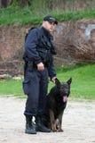 Ufficiale di polizia con un pastore tedesco Immagine Stock