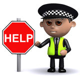 ufficiale di polizia 3d con il segno di aiuto Immagine Stock Libera da Diritti