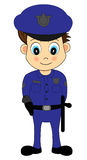 Ufficiale di polizia maschio del fumetto sveglio in uniforme blu Fotografie Stock