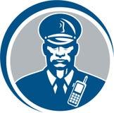 Ufficiale di polizia Radio Circle della guardia giurata Fotografia Stock