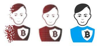 Ufficiale di polizia di semitono decomposto Icon di Bitcoin del pixel Fotografia Stock