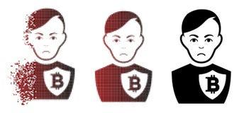 Ufficiale di polizia di semitono dissipato pietoso Icon di Pixelated Bitcoin Fotografie Stock Libere da Diritti