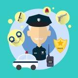 Ufficiale di polizia Senior Man Icon Immagine Stock