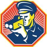 Ufficiale di polizia Speed Camera Radar del poliziotto Fotografie Stock Libere da Diritti