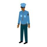 Ufficiale maschio afroamericano isometrico Immagine Stock Libera da Diritti