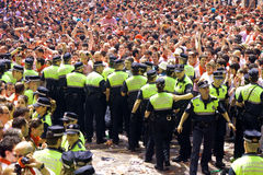 Ufficiali di polizia che lavorano al festival di San Fermin Fotografia Stock Libera da Diritti