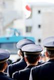 Ufficiali di polizia del giapponese di attenzione Fotografia Stock