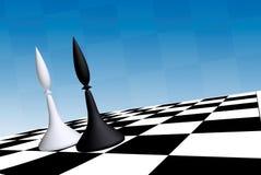 Ufficiali neri & bianchi sulla scacchiera illustrazione vettoriale