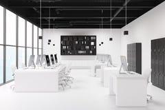 Ufficio bianco, gabinetti neri dello spogliatoio Fotografie Stock Libere da Diritti