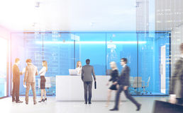 Ufficio blu con la gente, parte anteriore, doppia Fotografia Stock