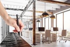 Ufficio coworking del disegno della mano Fotografie Stock
