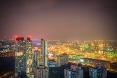 Ufficio del centro urbano di Singapore di vista aerea e buildin residenziale Fotografia Stock