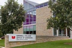 Ufficio dell'istituto universitario di Grinnell dell'ammissione sulla città universitaria di Grinell Co Immagine Stock Libera da Diritti