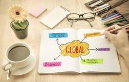 Ufficio dello scrittorio con il concetto di affari globali Immagini Stock