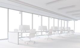 Ufficio dello spazio aperto e di bianco Immagini Stock