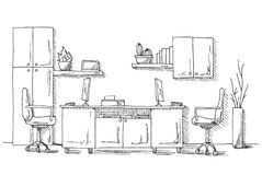 Descriva la prospettiva del disegno di schizzo di un for Mobilia spazio