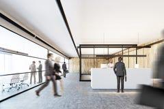 Ufficio di legno e di vetro, una ricezione bianca, la gente Fotografia Stock