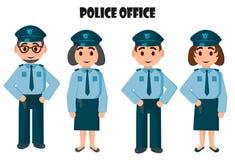 Ufficio di polizia, due gruppi della polizia - giovani e vecchi Immagine Stock