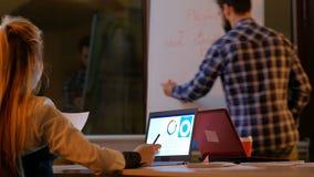 Ufficio di progettazione di strategia aziendale di 'brainstorming' video d archivio