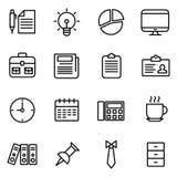 Ufficio ed icone legate al mercato Fotografia Stock