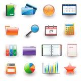 Ufficio ed insieme dell'icona di affari Fotografie Stock
