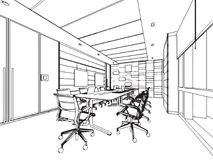 Ufficio interno di prospettiva del disegno di schizzo del profilo Immagini Stock