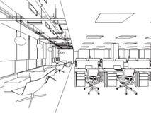 Ufficio interno di prospettiva del disegno di schizzo del profilo Fotografie Stock